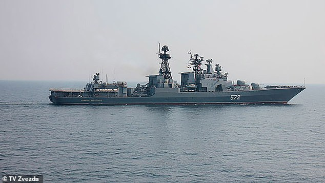 The Russian Defence Ministry said the Admiral Vinogradov (pictured) warned the US warship of the 'unacceptability' of its position