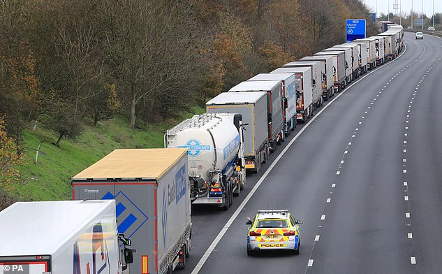 Lorries queueing at the M20 in Kent, waiting to access the Eurotunnel terminal in Folkestone. French authorities tested border controls they say will be in place if there is no Brexit deal
