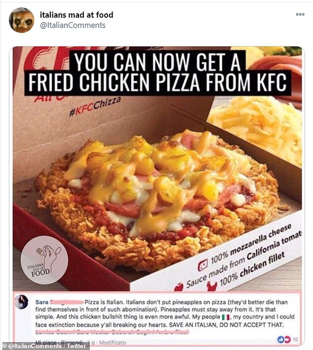 This is not a pizza! After KFC launched a 'fried chicken pizza' topped with pineapple one Italian said that they cannot accept it