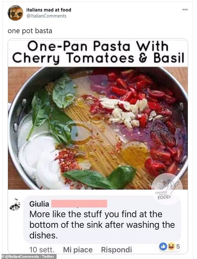 After one Twitter account suggested cooking sauce and pasta in the same pot, one Italian said it looks like something that's found at the bottom of sink