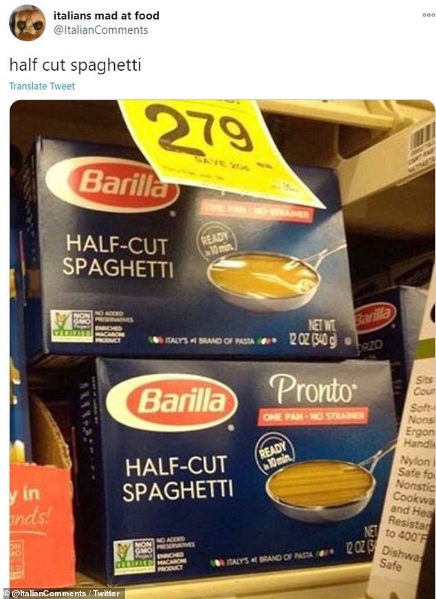 You break spaghetti, you break my heart! The Twitter account say that spaghetti should never be cut in half