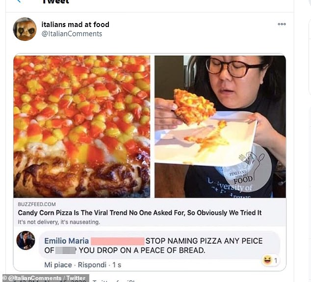 'Stop naming any piece of c*** on bread is pizza!' One Italian was particularly annoyed after reading an article about candy corn pizza