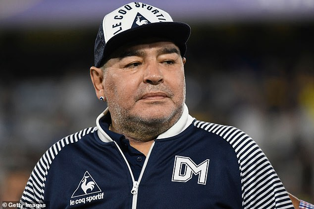 Maradona pictured in March 2020 in his role as manager of Argentine club Gimnasia y Esgrima