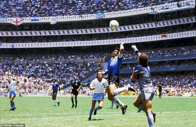 1986: Maradona's Hand of God goal - inexplicably missed by the referee - opened the scoring against England in a politically-charged World Cup quarter-final four years after the Falklands War