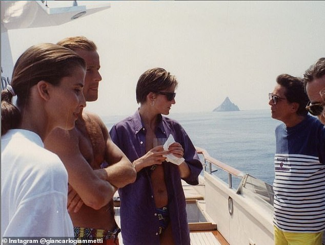 In SeptemberGiancarlo shared another image of the late princess on board the yacht, believed to have been taken on the same trip, alongside Prince Kyril and Rosario (left)
