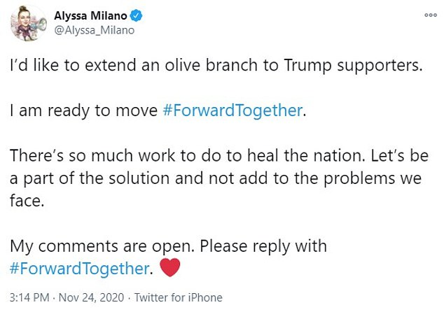 ¿I'd like to extend an olive branch to Trump supporters. I am ready to move #ForwardTogether,¿ the star of the hit TV show Charmed tweeted to her 3.7 million followers on Tuesday. ¿There¿s so much work to do to heal the nation. Let¿s be a part of the solution and not add to the problems we face.¿