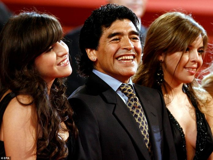 Maradona (centre) and his daughters Dalma (right) and Giannina ahead of a screening of the documentary 'Maradona' at the 61st edition of the Cannes Film Festival in Cannes, France, 20 May 2008