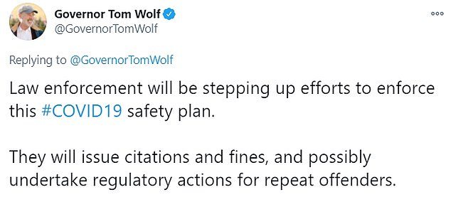Pennsylvania Gov. Tom Wolf has also announced a heightened presence from law enforcement and a curfew on alcohol sale on Thanksgiving Eve to cut down on social gatherings