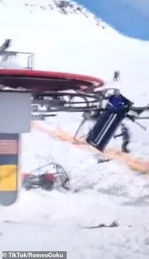 A group of skiers came flying off their ski lift when it malfunctioned