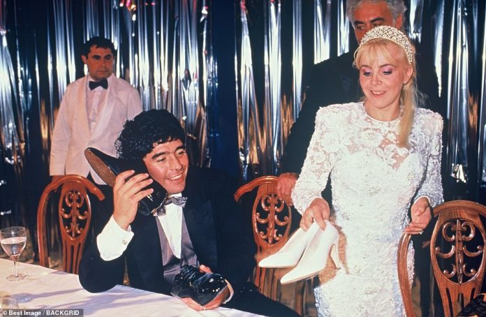 Maradona playing around with his shoes on his wedding night with Claudia in Buenos Aires in 1989