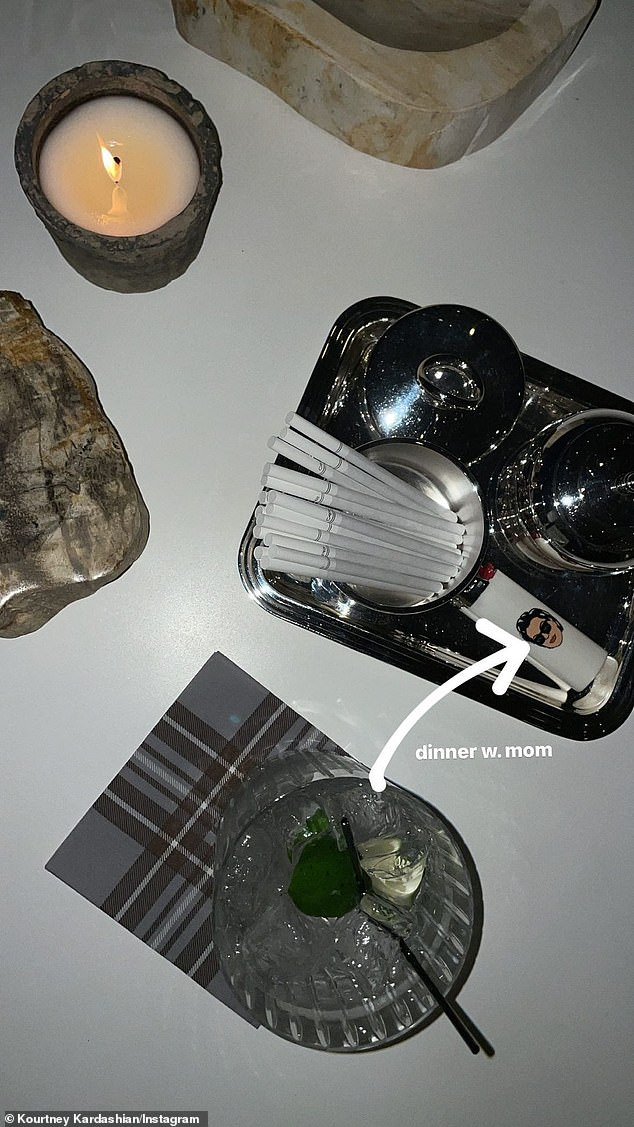 Details: Koutney also had dinner with Kris; she showed off the cigarette tray she had, which also included a lighter with Kris's face on it