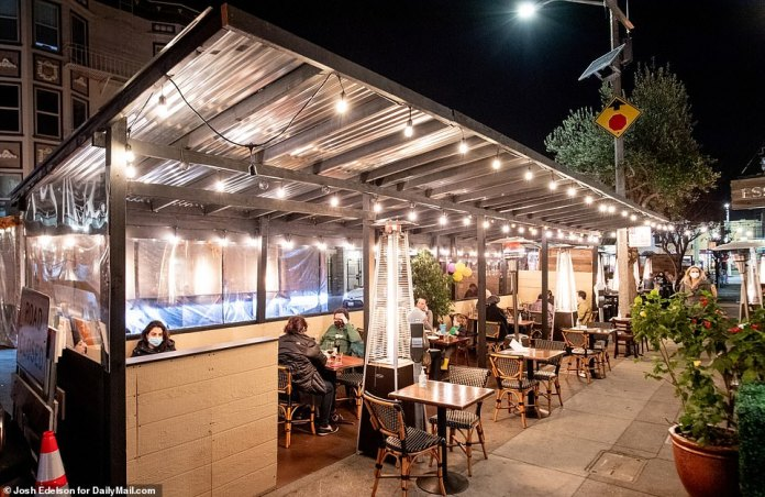SAN FRANCISCO: Heaters line a patio at a restaurant in San Francisco where a metal roof was installed to protect from rain