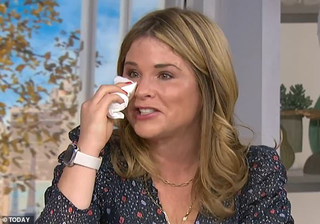 Emotional: Jenna couldn't help but cry as she watched the heartfelt video from her loved ones