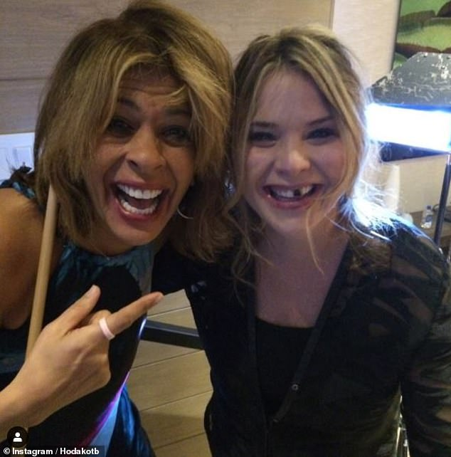 Hilarious: Hoda also took to Instagram to share a photo with Jenna with food in her teeth, writing:'Thx for making me laugh! Happy birthday Jenna'
