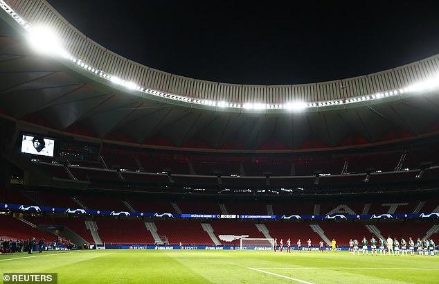 A picture of Maradona can be seen on the stadium screens inside the Wanda Metropolitano