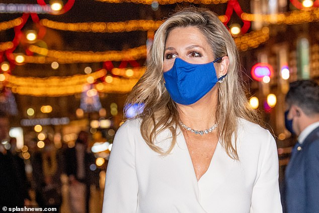 Maxima donned a bright face covering as she stepped out in Amsterdam to announce the winners of the annual business awards
