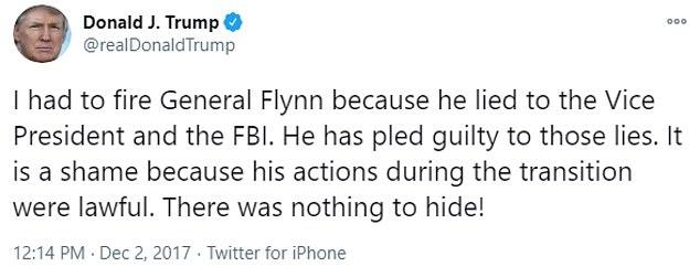 Three years ago Trump tweeted about firing Flynn