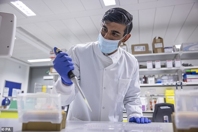In the midst of the catastrophic figures published yesterday, let¿s not forget barely three days have passed since a great British university (Oxford) and a British pharmaceutical giant (AstraZeneca) delivered on the promise of a vaccine. Pictured, Rishi Sunak