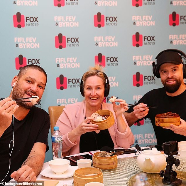'It's just hard': The radio star broke down in tears as he made the announcement live on air on Thursday morning. Pictured Byron with co-hosts Brendan Fevola and Fifi Box