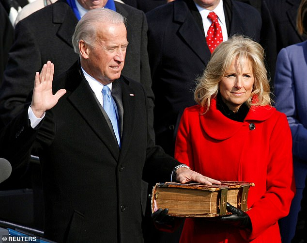 Joe Biden and his wife Jill during the inauguration ceremony for President Barack Obama in Washington in 2009