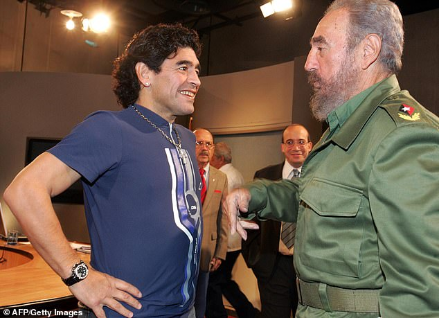 The hard-living Argentina star (pictured with Fidel Castro in 2005), who'd suffered years of ill health, had successful surgery for a blood clot in the brain just two weeks ago
