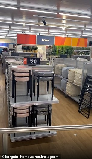 The store showed popular aisles such ashomeware and décor