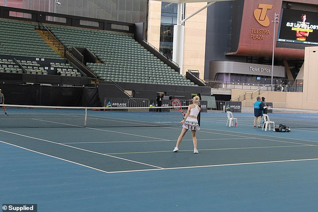 The young woman now competes in blind tennis - and loves the sporting community