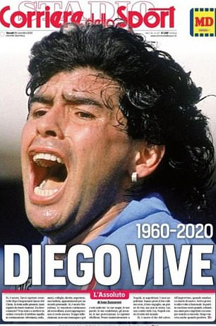 Corriere dello Sport lead with a picture of Maradona at Napoli with the headline 'Diego lives'