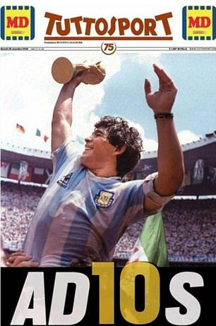 Tuttosport's front page also pays tribute to Maradona's finest moment and the No 10 shirt he became synonymous with