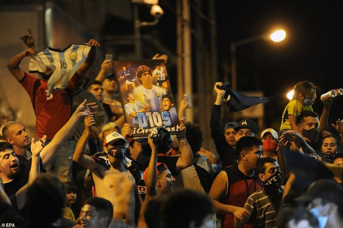 Admirers also gathered at the door of the morgue where Maradona's body was taken after he was found dead on Wednesday