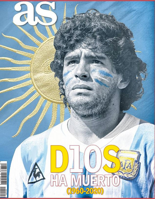 AS's front page read 'D10S Ha Muerto' with a picture of Maradona in front of the sun