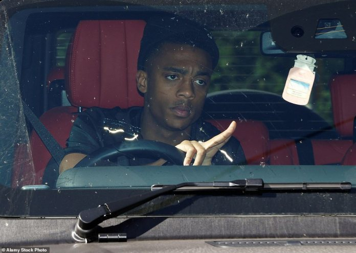 Willock, pictured arriving at Arsenal training in May, was said to have been left 'shaken' but unhurt by the smash on Saturday