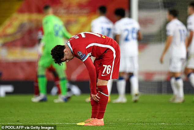 His mood worsened after Liverpool and Neco Williams (above) lost to Atalanta on Wednesday