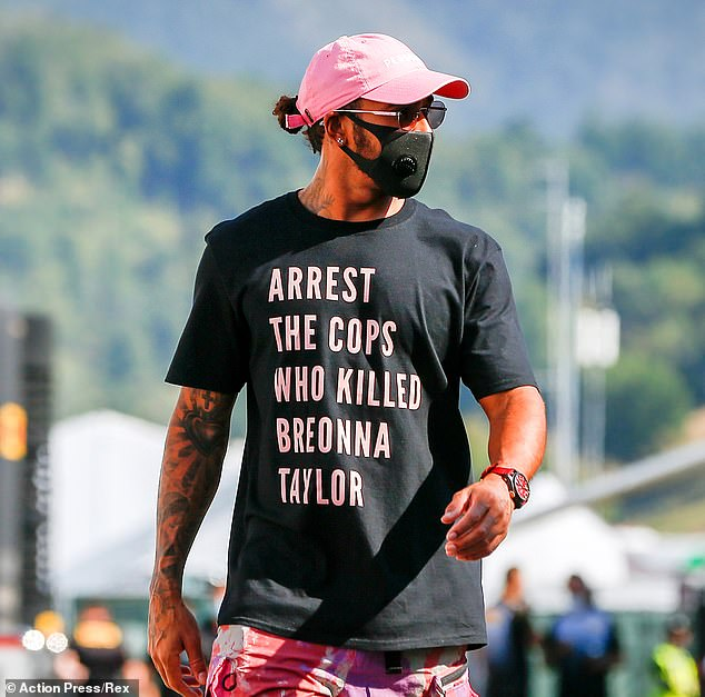 Making a stand: In September, Lewis wore a shirt asking for officers who killed Breonna Taylor to be arrested leading F1 to ban such political statements, but he said he'd 'do it again'