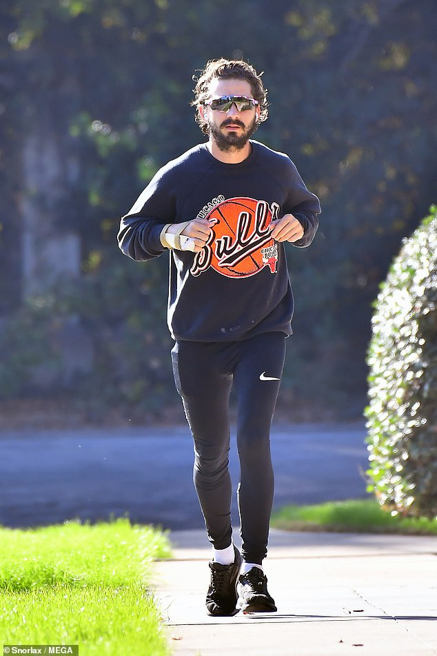 Outing:Shia then headed out on a light jog around the neighbourhood as he made sure to keep fit amid the coronavirus crisis