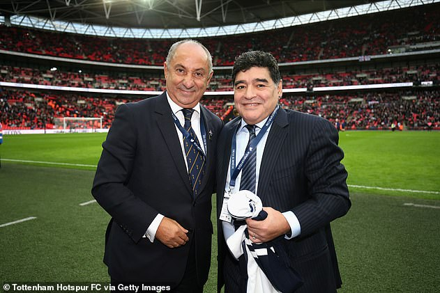 Ossie Ardiles (left) was good friends with Diego Maradona. The pair are pictured at a Tottenham game against Liverpool in the Premier League at Wembley in 2017