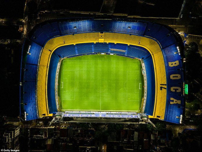 The Boca Juniors stadium was lit up in the team's colours in tribute to Maradona who used to play for the Argentinian team