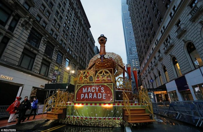 A float prepares to film the third segment of the 94thMacy's Thanksgiving Day Parade on Thursday morning