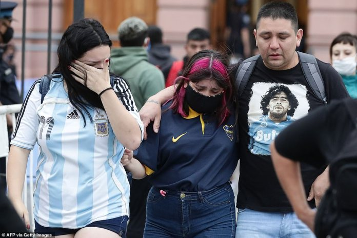 Football fans were in tears as they left the presidential palace after seeing Maradona's casket ahead of the player's burial