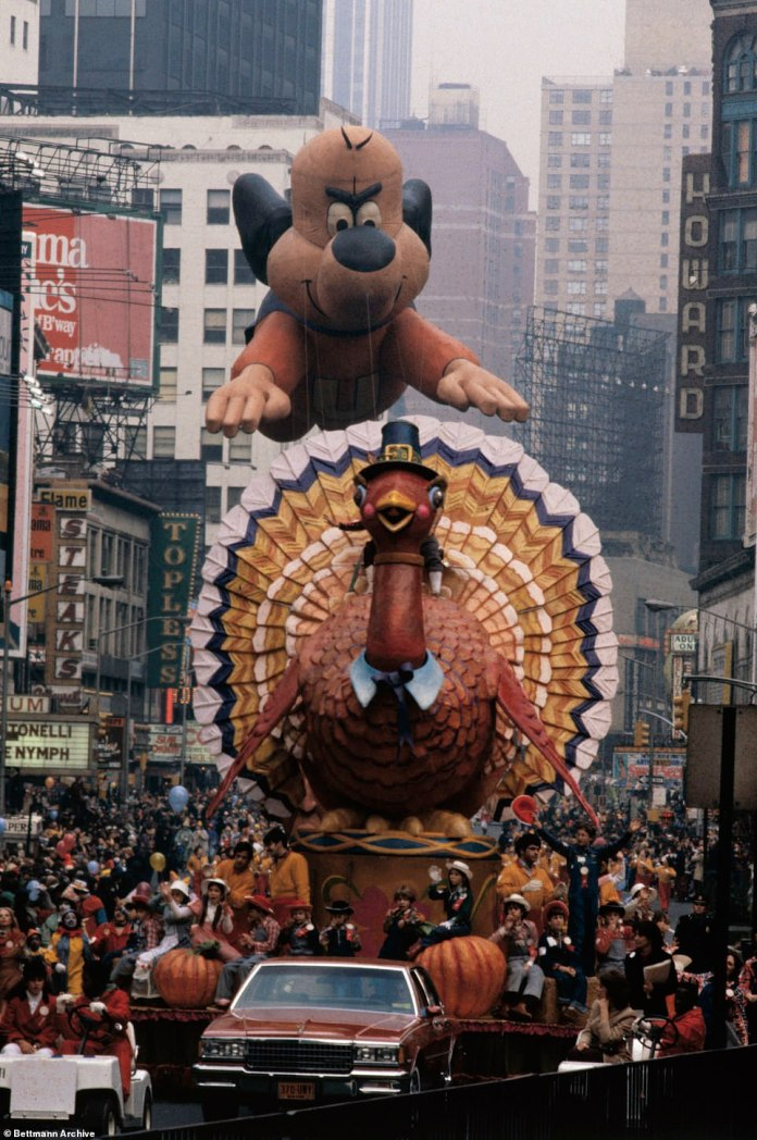 The turkey float (above,pictured in 1979) is a perennial addition to the parade and has been re-imaged over the years