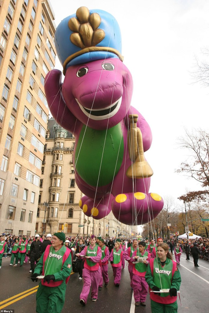 Barney is pictured above in 2004. Barney famously went rogue in 1997 when balloon handlers struggled to strong arm his violent twists and bucks amid 43 mph wind gusts. Barney tore into pieces on live TV. That same year, heavy winds pushed the 70-foot- tall Cat in the Hat balloon into a lamppost which injuring a spectator and left her in a coma for a month