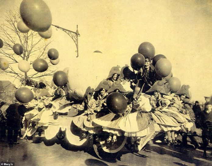 The 'Balloonatics' float (above) from 1926 inspired the creation of the character balloons that made their debut one year later. To this day, the skilled team of painters, carpenters and animators responsible for designing the Macy's Thanksgiving Parade floats and puppets are called 'balloonatics'