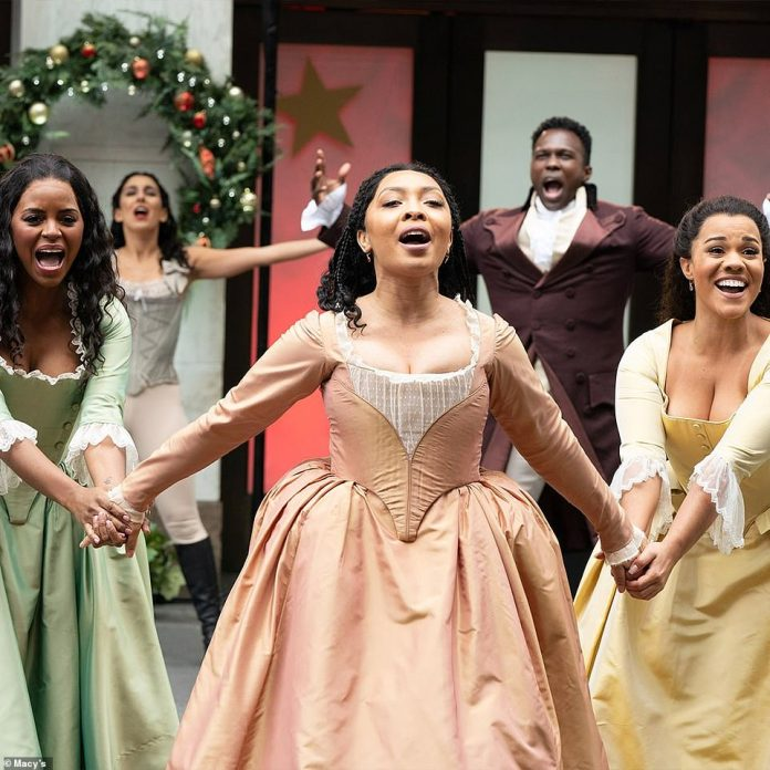 The cast of Hamilton perform at the 2020 Macy's Thanksgiving Day Parade on Thursday morning