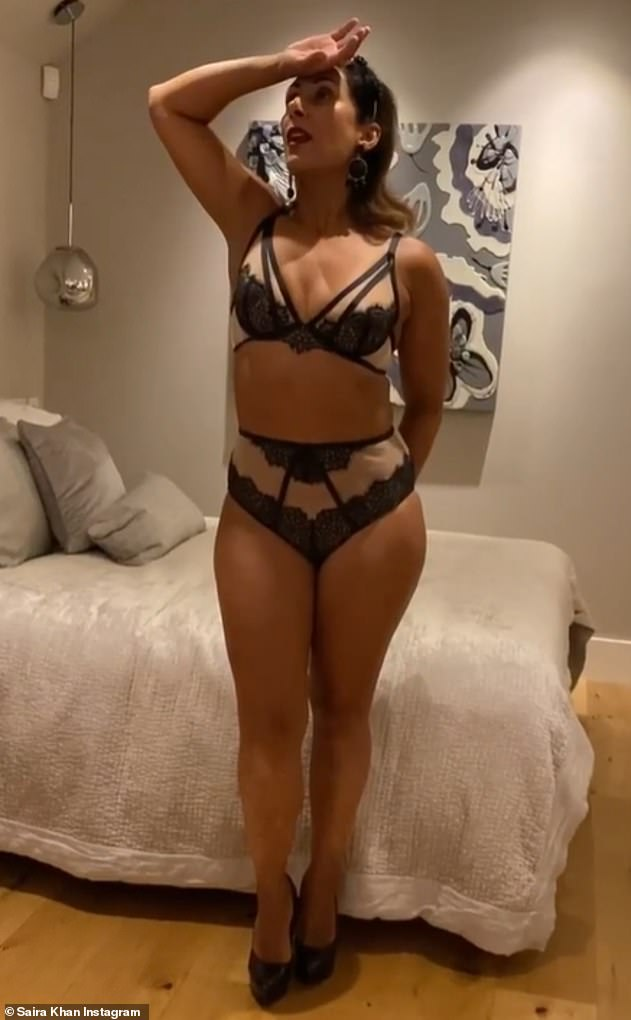 Send temperatures soaring: Last month, Saira wowed in sexy lingerie as she told her followers she was prioritising 'me time' to feel sexy again and improve her mental health