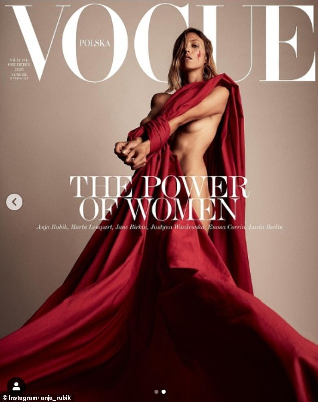 Polish model Anja Rubik, 37, has voiced support for pro-choice campaigners following a ban on abortions in Poland. Pictured: Anja on cover of Vogue Poland