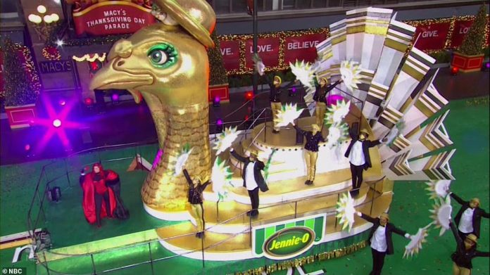 The floats stopped for performances outside of Macy's flagship NYC store at Herald Sqaure