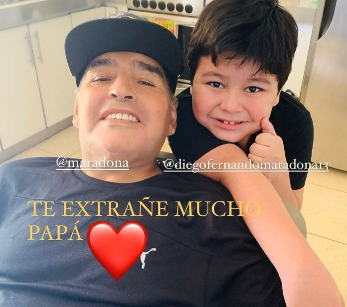 Maradona's final photo with his seven-year-old son Diego Fernando, whose mother is his former long-term girlfriendVeronica Ojeda