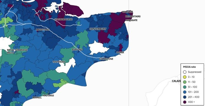 Department of Health data shows a closer view of the areas in Kent with the highest infection rates. Exact numbers weren't revealed in the areas in white because fewer than three people tested positive