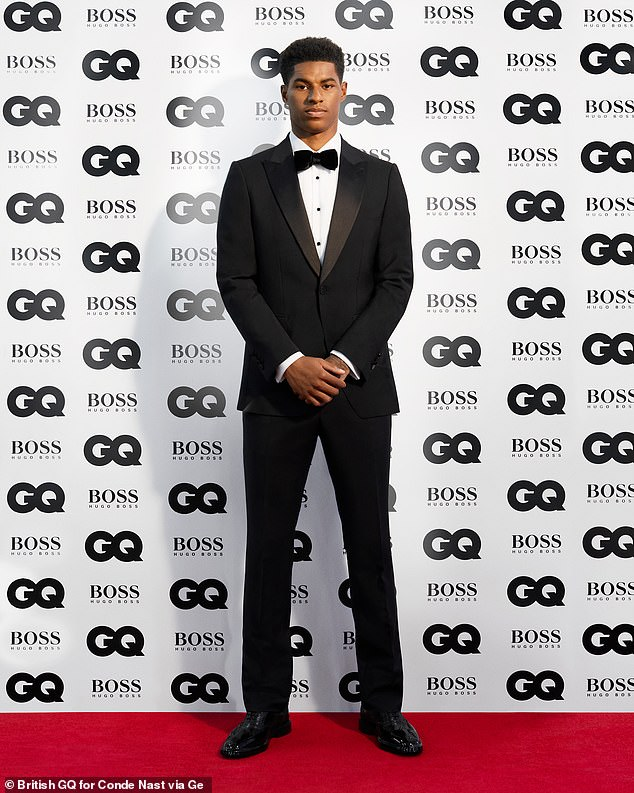 Campaigner: Footballer Marcus Rashford, 23, was named GQ's Campaigner of the Year, following his successful efforts to ensure children have free school meals
