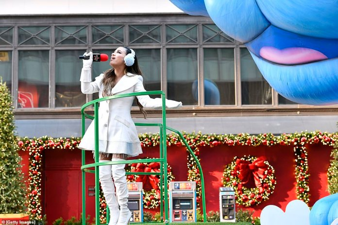 Ally Brooke performs on the Blue's Clues & You! float during Thursday's filming